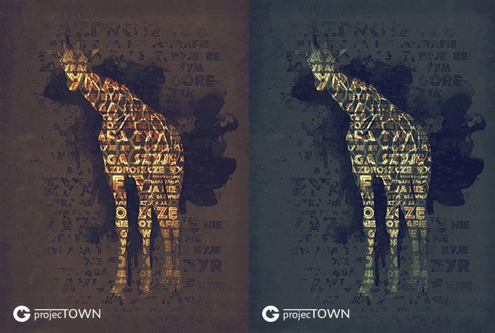 Żyrafa w wersji brązowozłotej i zielonoturkusowej.