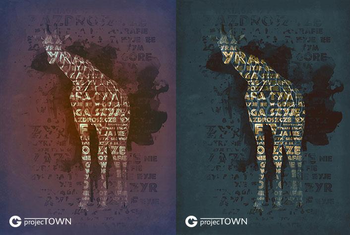 Żyrafa w wersji fioletowoczerwonej i ciemnoturkusowej.