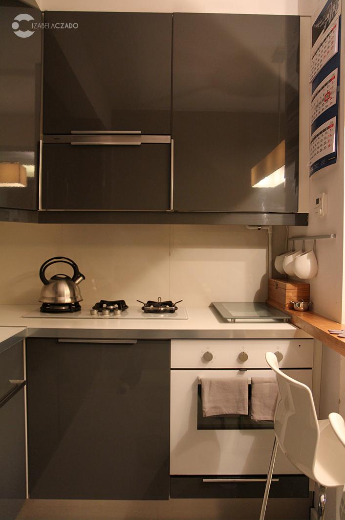 Kuchnia - biała płyta grzewcza oraz piekarnik.