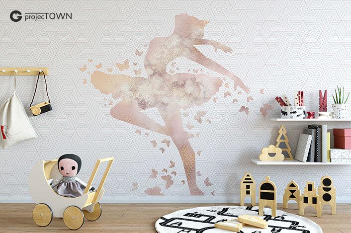 Grafika jako fototapeta w pokoju dziecięcym.