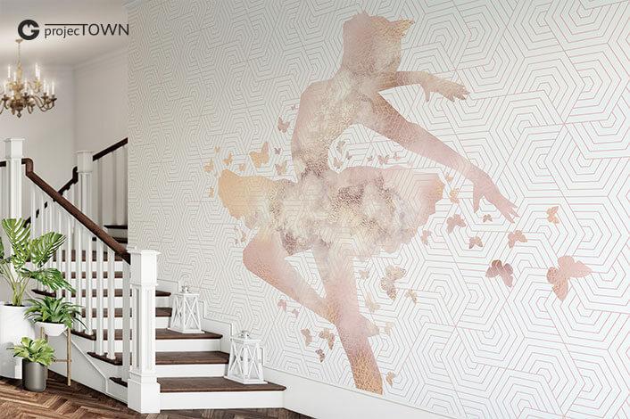 Grafika jako fototapeta przy schodach -kadr.