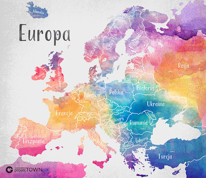 Mapa Europy - państwa i stolice.