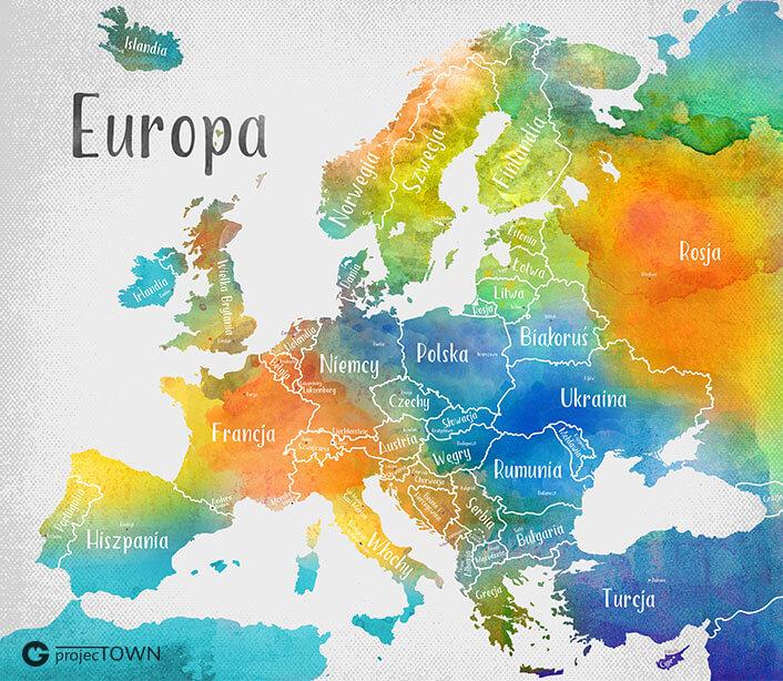 Mapa Europy - państwa i stolice. Wersja błękitno-pomarańczowa.