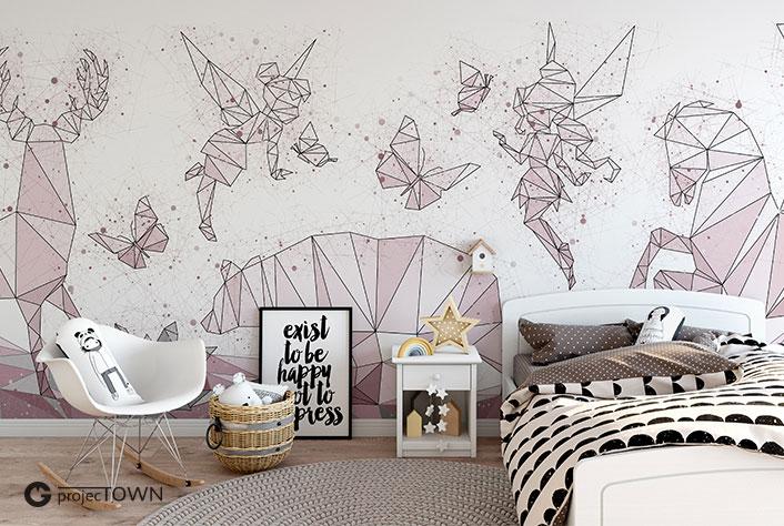 Grafika jako fototapeta na całą ścianę.