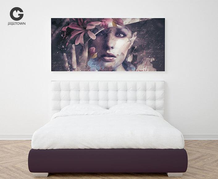 Grafika jako obraz na płótnie w nowoczesnej sypialni.