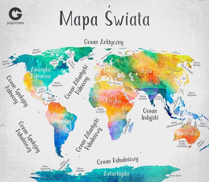 Mapa Świata z nazwami kontynentów, morzami i oceanami- grafika oryginalna.