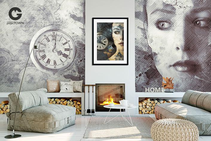 Fototapeta w nowoczesnym salonie z obrazem w ramie.