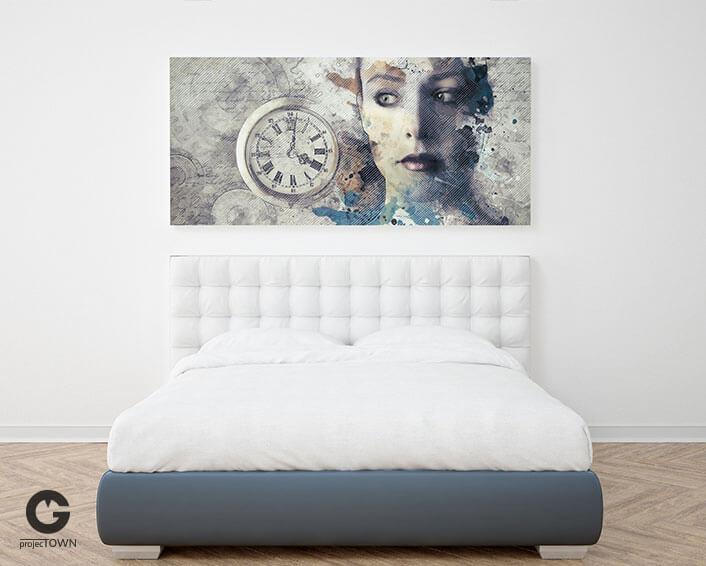 Obraz na płótnie w minimalistycznej sypialni.