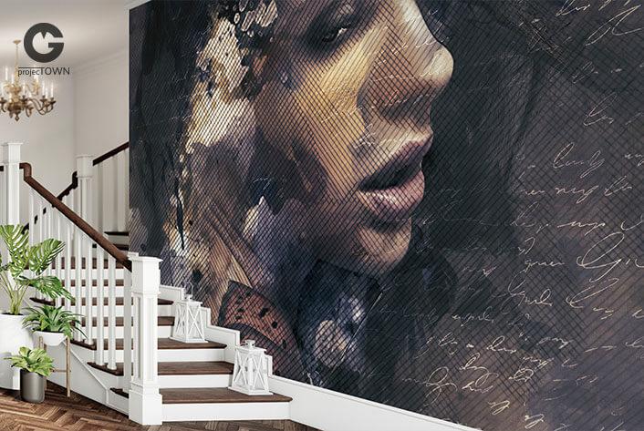 Fototapeta na ścianie przy klasycznych schodach.