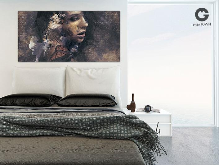 Obraz na płótnie w nowoczesnej sypialni.