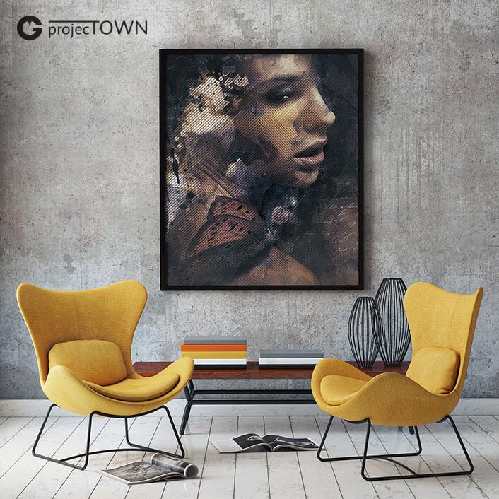 Obraz na płótnie w ramie w nowoczesnym pomieszczeniu.