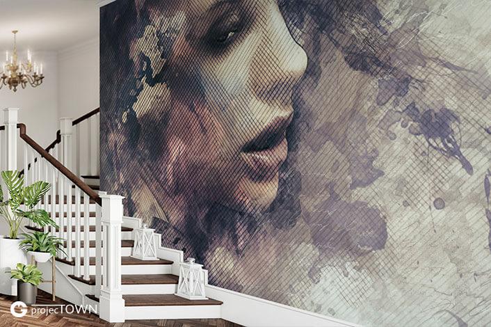Fototapeta przy klasycznych schodach.