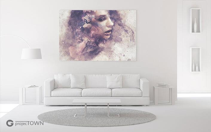 Obraz na płótnie w ramie w minimalistycznym pomieszczeniu.