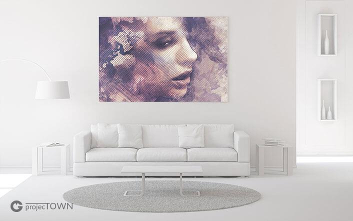 Obraz na płótnie w minimalistycznym pomieszczeniu - kadr.