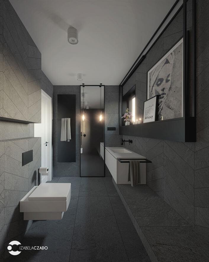 łazienka 7 m kw. widok na lustro