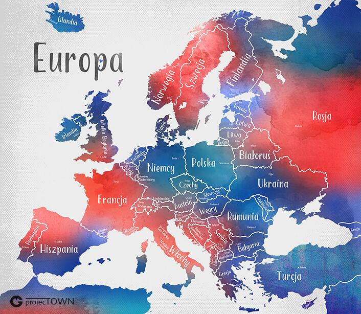 Mapa Europy - państwa i stolice. Wersja granatowo-czerwona.