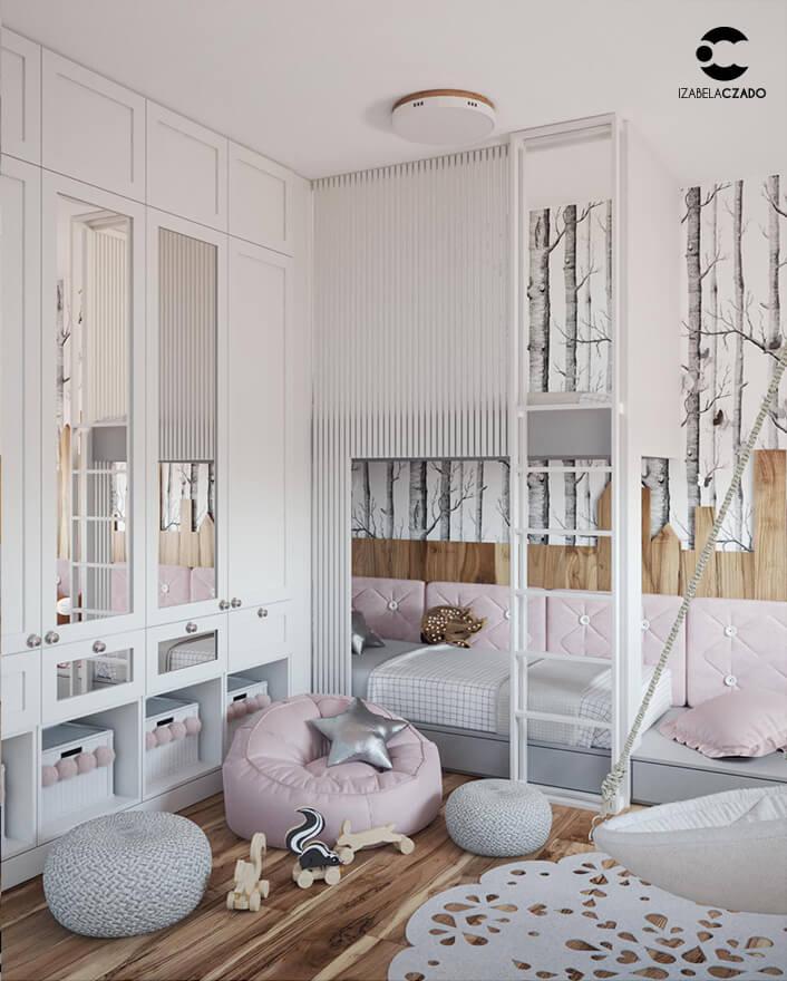 Pokój dziecięcy. Widok na zabudowę oraz na łóżko piętrowe.