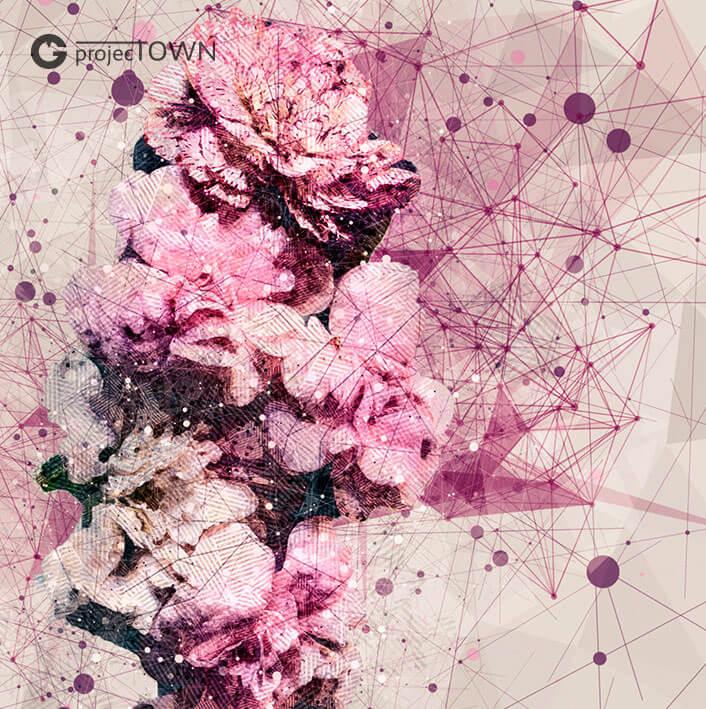 Goździki z gipsówką. Grafika oryginalna różowa. Detal.