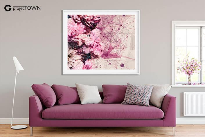 Goździki z gipsówką. Grafika różowa jako obraz 1.