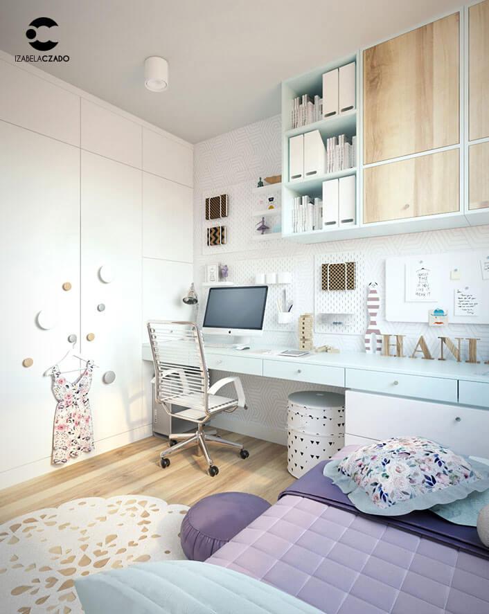 Pokój dla dziewczynki - projektantki mody. Widok na zabudowę.