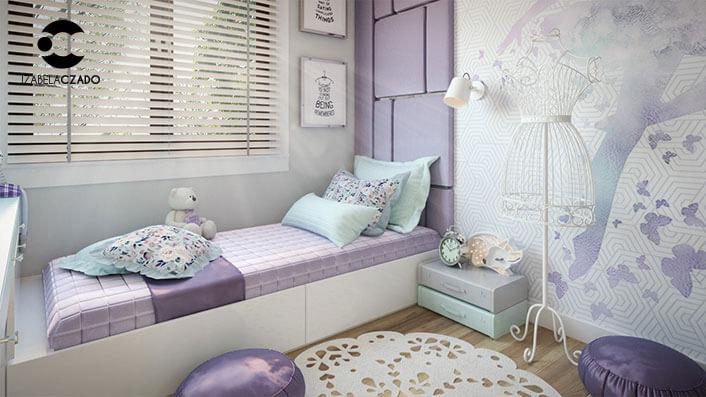 Pokój dla dziewczynki - projektantki mody. Widok na łóżko od strony zabudowy.