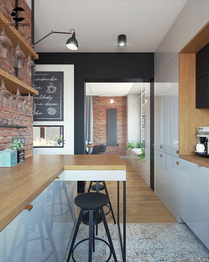 Salon z jadalnią i kuchnią. Kuchnia 1.