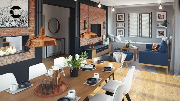 Salon z jadalnią i kuchnią. Jadalnia i salon panorama.